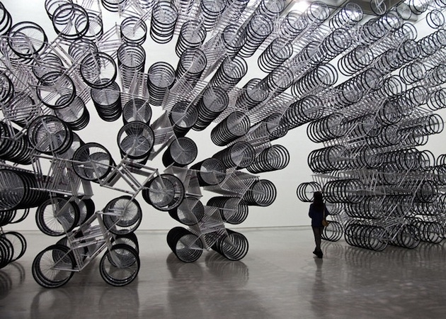 Spiraling-Stack-of-Bikes-Creates-Forever-Bicycles-Installation-2 image