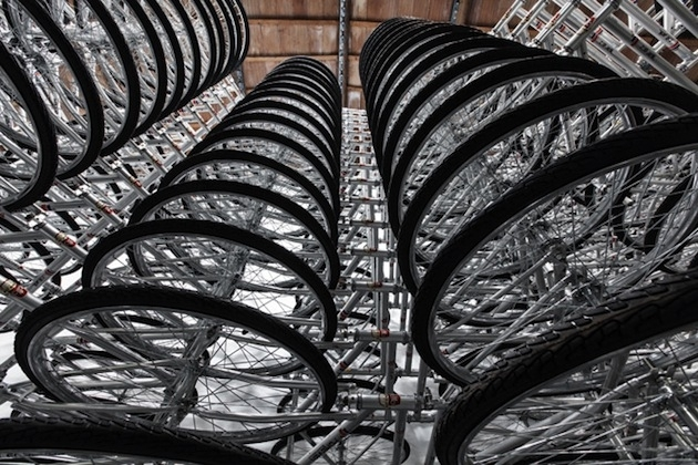 Spiraling-Stack-of-Bikes-Creates-Forever-Bicycles-Installation-4 image