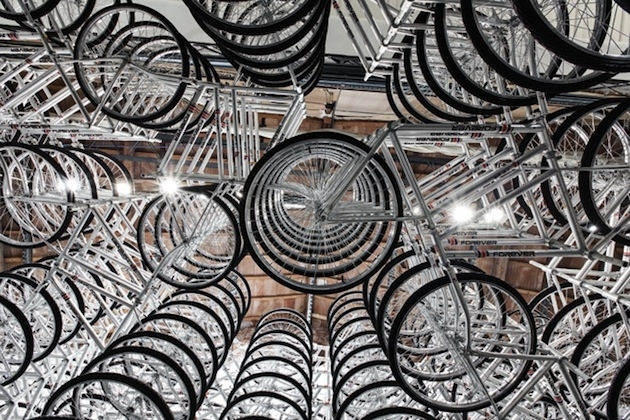 Spiraling-Stack-of-Bikes-Creates-Forever-Bicycles-Installation-7 image