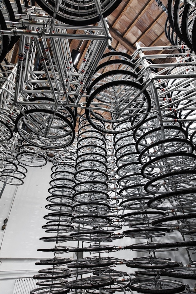 Spiraling-Stack-of-Bikes-Creates-Forever-Bicycles-Installation-8 image