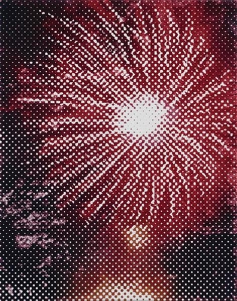 Fireworks (red on blue) image
