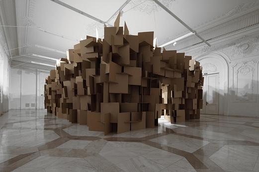 200 prepared dc-motors, 2000 cardboard elements 70 x 70 cm image