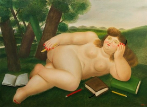 Fernando Botero - Reclining Nude with Books and Pencils on Lawn image