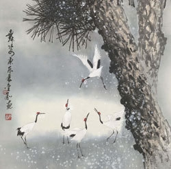 Pines and cranes dancing in the snow, dance in motion  (detail)  image