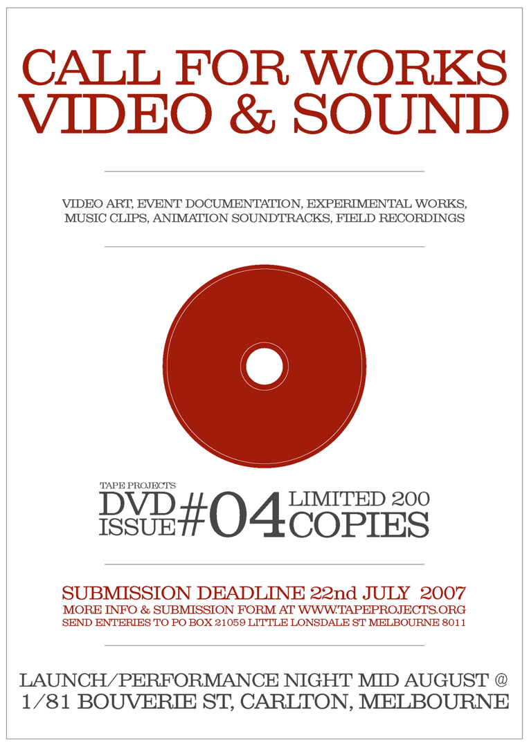 Tape Projects DVD 4 - call for works image