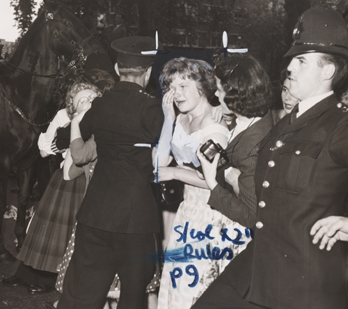 Fans outside St Patrick's Church in Soho Square during the wedding of Tommy Steele to Ann Donoghue image