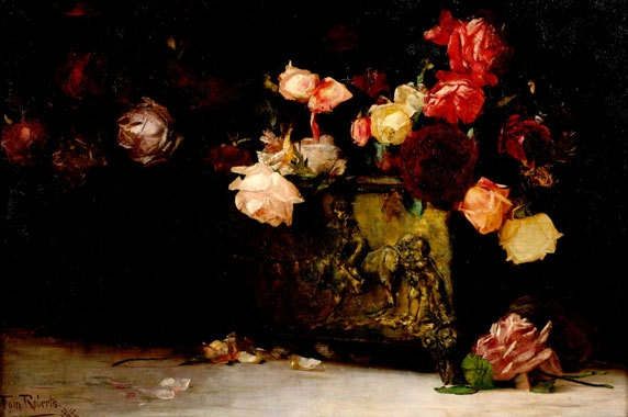 Tom Roberts, Roses, (1888) 51.4 x 76.9, oil on canvas on plywood image
