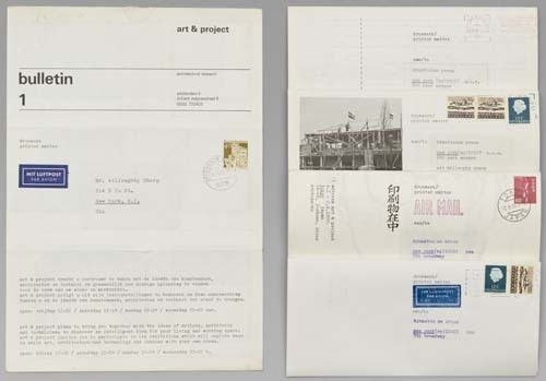Various issues of Art & Project Bulletin mailed to publisher Willoughby Sharp, curator Kynaston McSh image