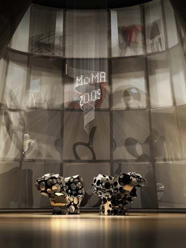 Rendering of the exhibition Ron Arad: No Discipline at The Museum of Modern Art. Foreground: Lolita  image