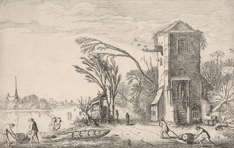 Winter landscape with a square tower used as an inn 1616 image