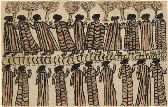 Figures in possum skin cloaks 1898 image