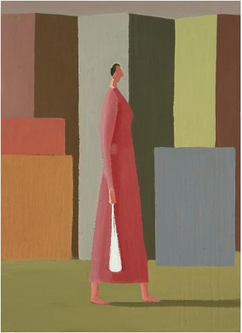 Study #9 (woman passing buildings) image