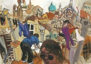 A Wendy Sharpe painting showing the artists working from a rooftop in Paris  image