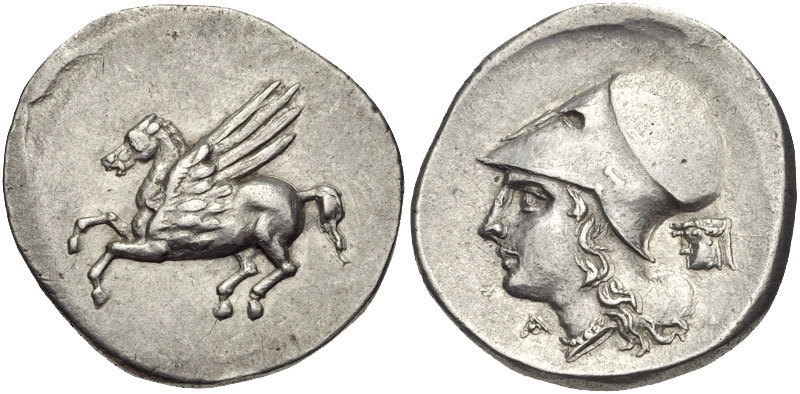 Silver stater with Pegasus and head of Athena wearing a Corinthian helmet image