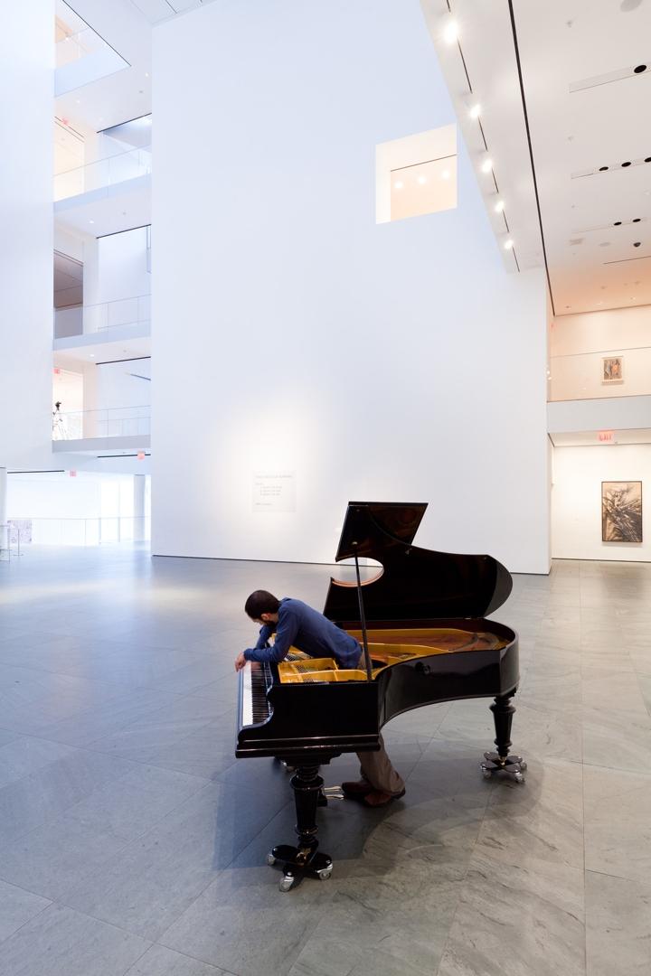 "Jennifer Allora (American, born 1974) and Guillermo Calzadilla (Cuban, born 1972). Stop, Repair, Prepare: Variations on ""Ode to Joy"" for a Prepared Piano. 2008. image"