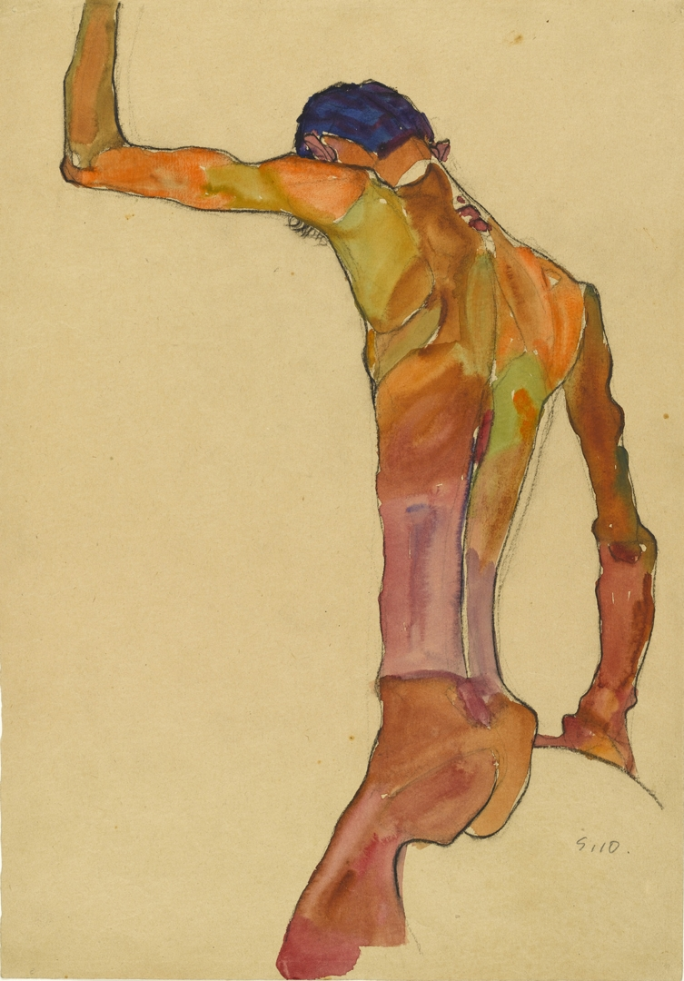 Standing Male Nude with Arm Raised, Back View image
