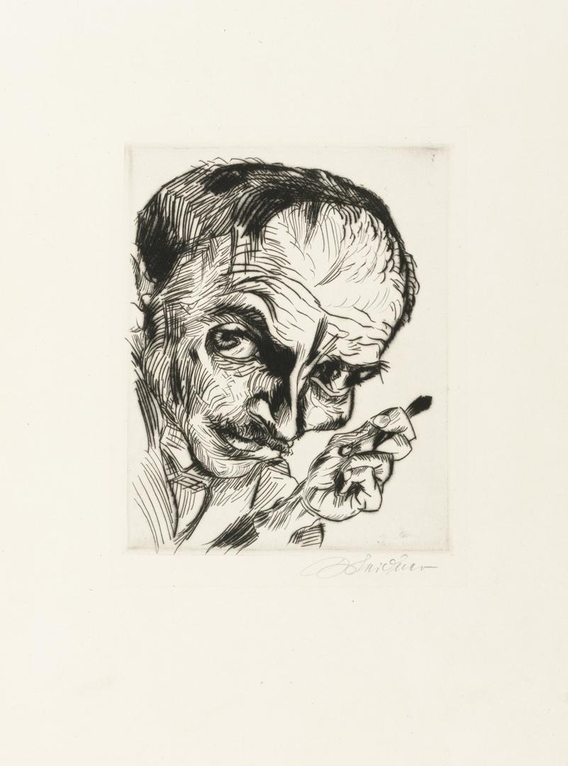 Self Portrait with Burin (Selbstporträt mit Radiernadel). 1920 image