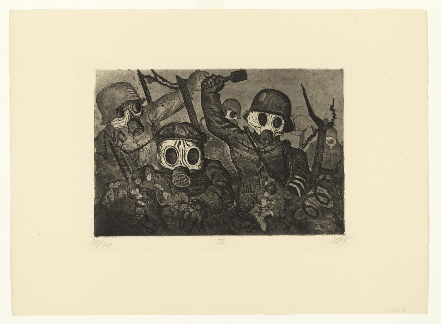 Shock Troops Advance under Gas (Sturmtruppe geht unter Gas vor) from the portfolio The War (Der Krieg). 1924 image