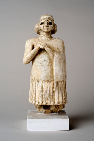 Plaster reproduction of a gypsum votive statue of a woman, Mesopotamia (southern Iraq) image