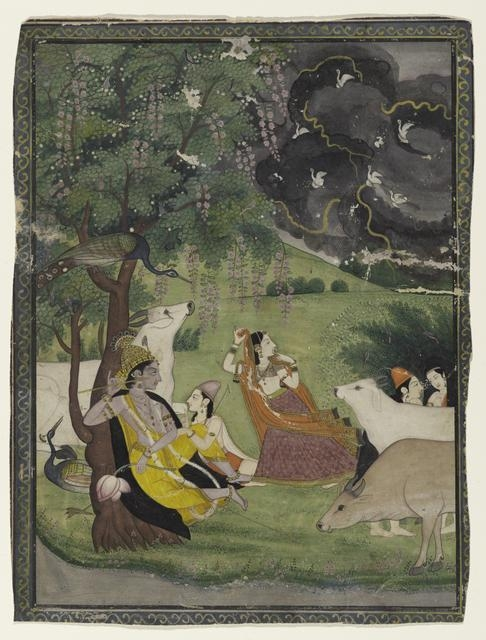 Krishna and Radha under a Tree in a Storm  image