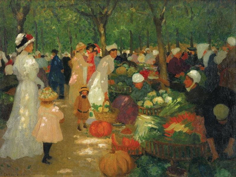Market, under trees 1919 image