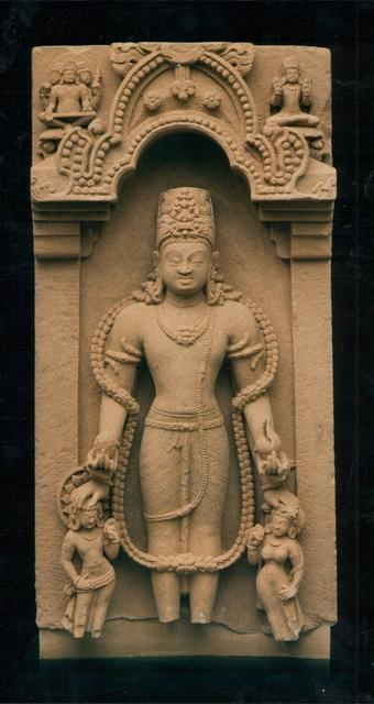 Two-Sided Stele with Vishnu (Flanked by Personified Attributes) and Durga image