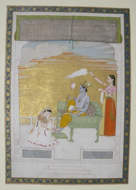 Lakshmi Massaging the Foot of Vishnu, circa 1765–70. image