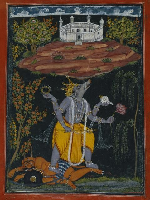 Varaha Rescuing the Earth, Page from an illustrated Dashavatara series; circa 1730–40 image