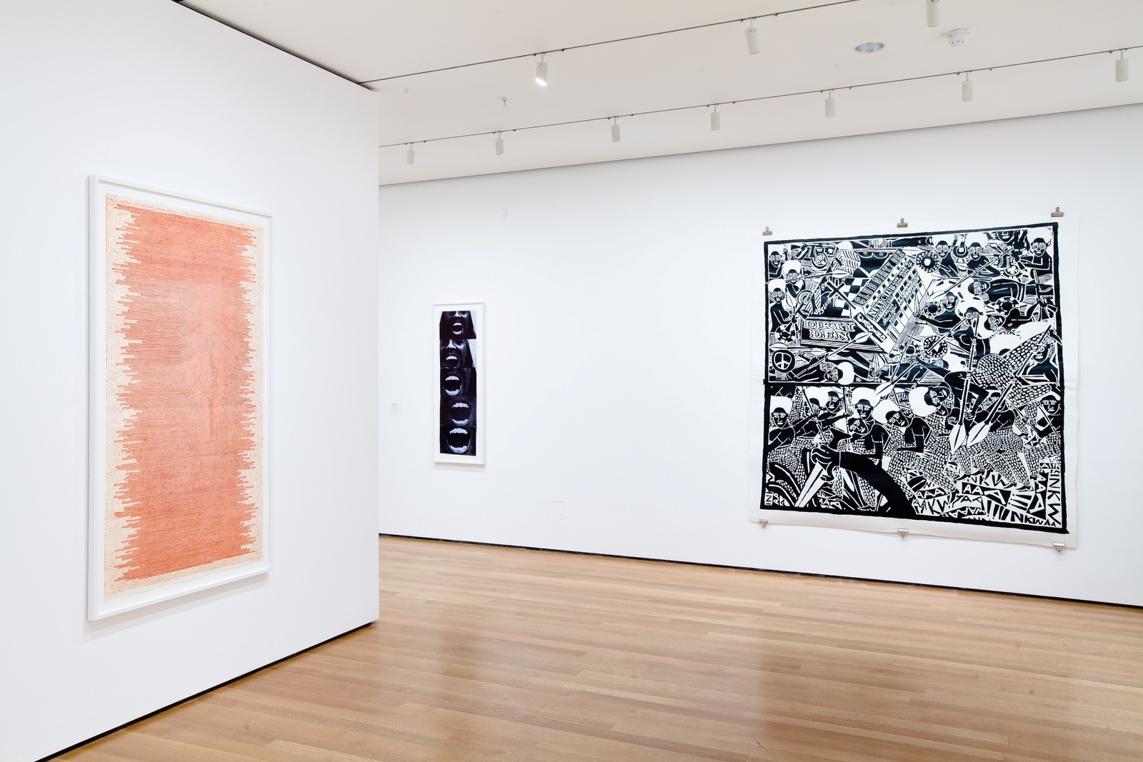 Left to right: Paul Edmunds, The same but different (2001); Ernestine White, Outlet (2010); and Cameron Platter, The Battle of Rorke's Drift at Club Dirty Den (2009) in Impressions from South Africa, 1965 to Now at MoMA image