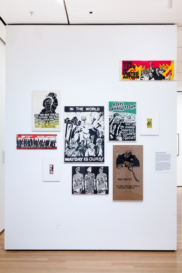Installation view of Impressions from South Africa. Poster work (1980-1989) by various South African organizations and artists image