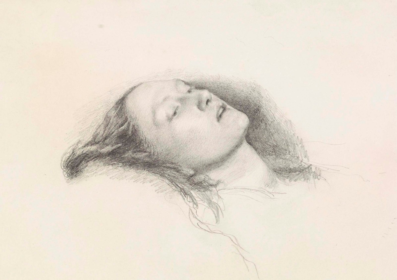 Study ofthe head of Elizabeth Siddal for 'Ophelia' 1852 image