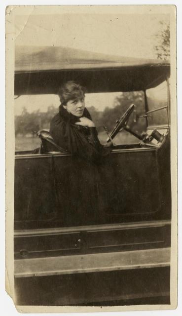 Djuna Barnes sitting in a car, circa image