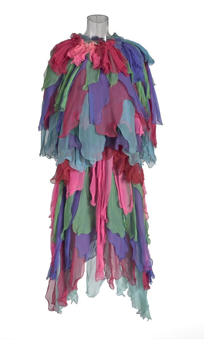 Rainbow parrot costume 1977 © Linda Jackson image