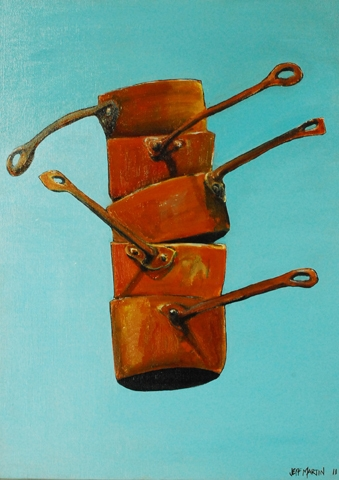 Five copper pots image