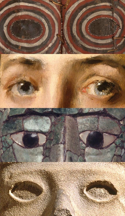 Details of four works in the Connecting Cultures installation, from top: Korumbo Gable Painting, 20th century, unidentified Abelam artist; Girl in a Japanese Costume, circa 1890, William Merritt Chase; Mosaic Head Pendant, 700–800, unidentified Maya artist; and Life-Death Figure, circa 900–1250, unidentified Huastec artist. image