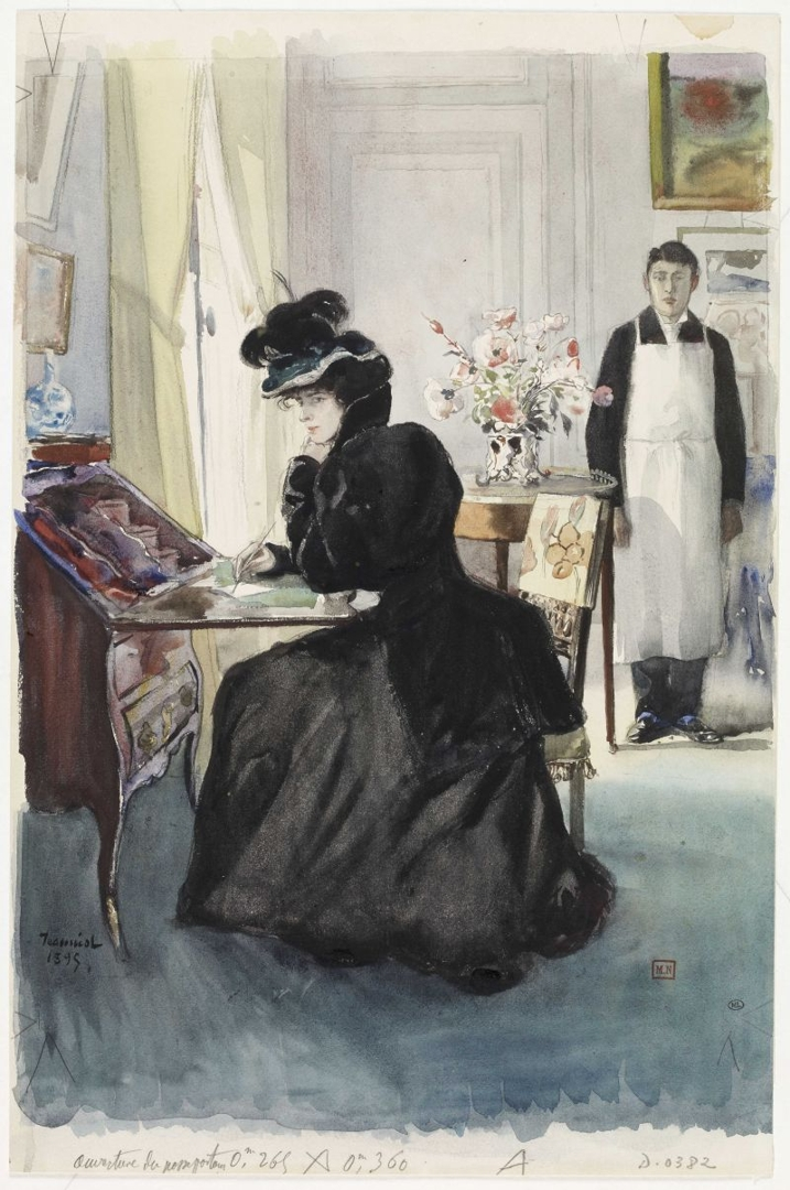 In a living room, woman writing at a desk image
