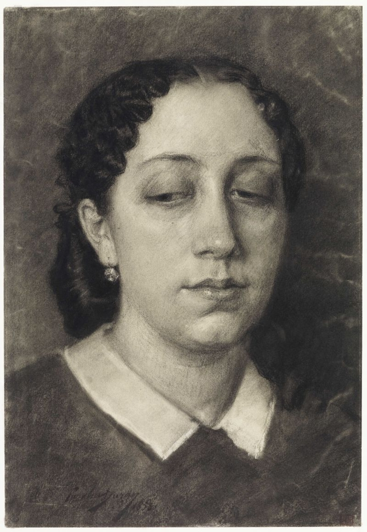 Portrait of a woman with downcast eyes image