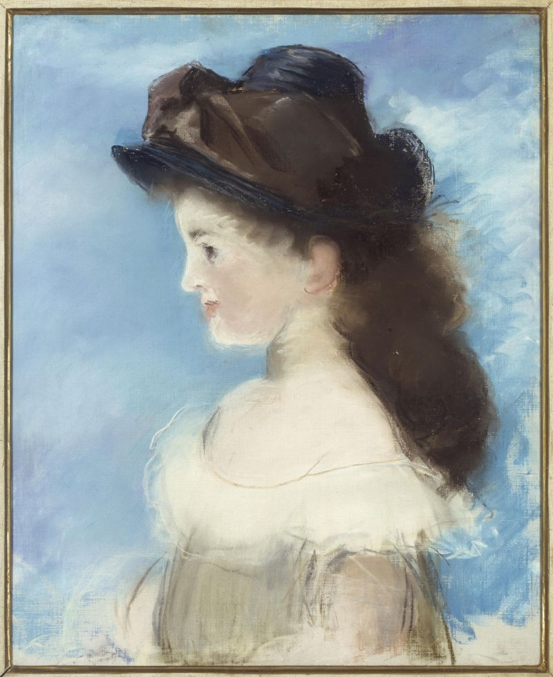 Portrait of Mademoiselle Hecht wearing a hat, seen in profile image