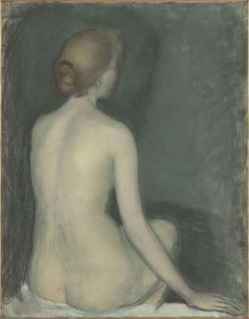 Seated nude woman seen from behind image