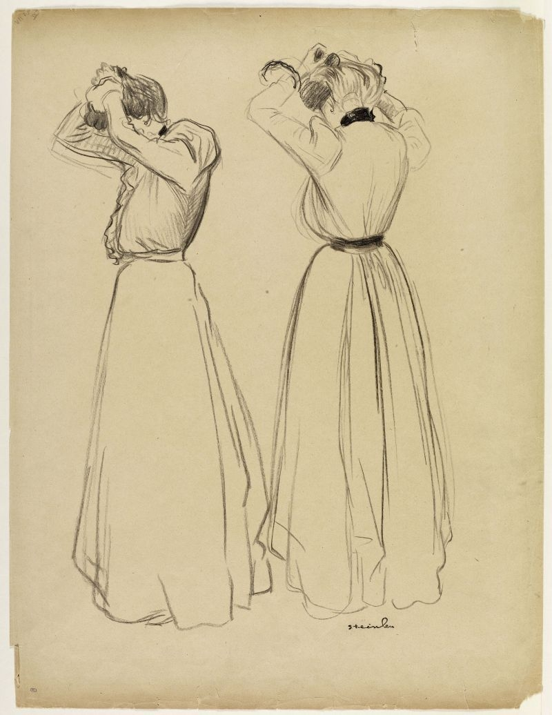 Two studies of women doing their hair image