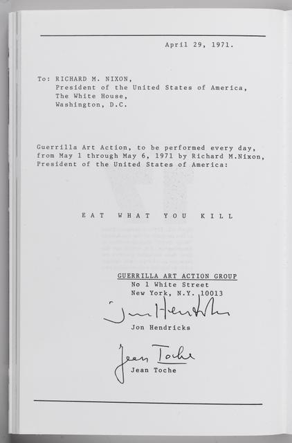 Send Letters to Nixon, Agnew, Hoover, Mitchell, Laird, Kissinger … April 29, New York (Eat What You Kill) image