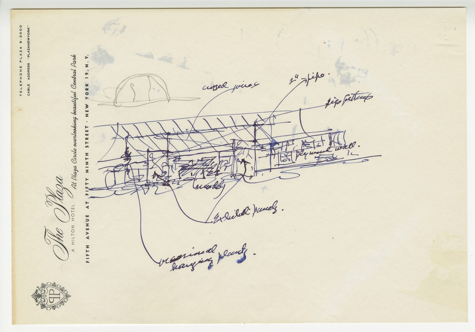 Sketch by Frank Lloyd Wright sent to James Johnson Sweeney, illustrating the pavilion and Usonian house image