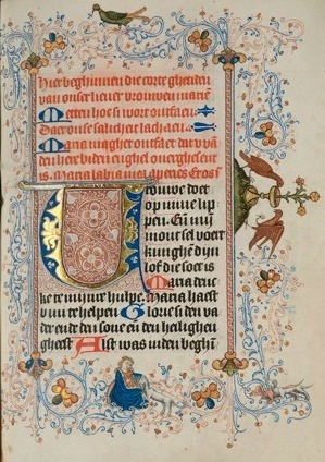 Detail of Book of Hours with motif of the Virgin and the Unicorn, Delft, second quarter of the 15th century image