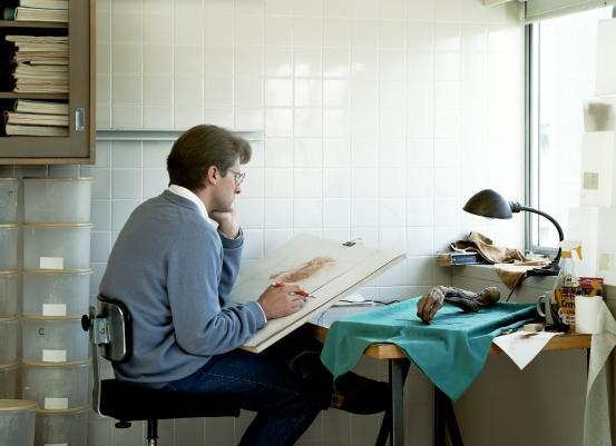 Adrian Walker, artist, drawing from a specimen in a laboratory in the Dept. of Anatomy at the University of British Columbia, Vancouver image
