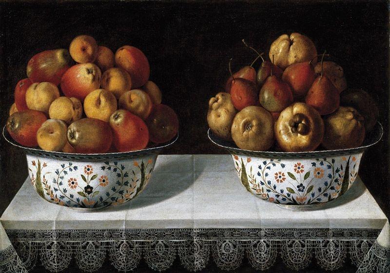 Two fruit bowls on a table (Dos fruteros sobre una mesa), 1642 image