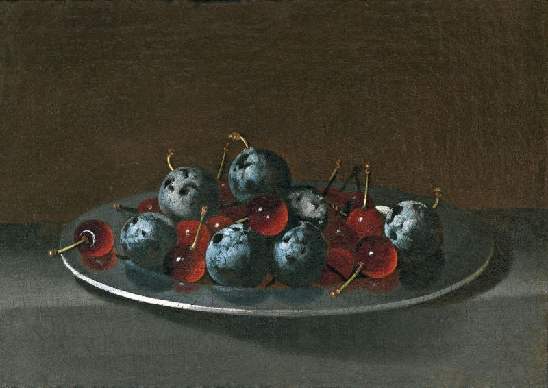 Plate with plums and cherries (Plato con ciruelas y guindas), c.1631/1637 image