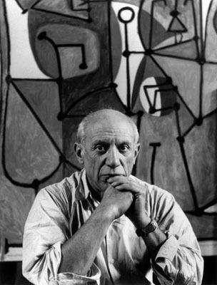 Pablo Picasso in front of The Kitchen (La cuisine, 1948) in his rue des Grands-Augustins studio. image