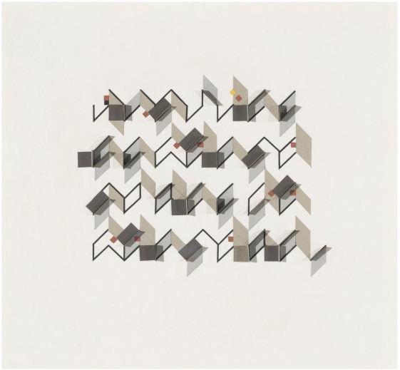 (2,5,8) Subtractive x 3 acrylic, card, plastic on card 13x16x1cm $880 image