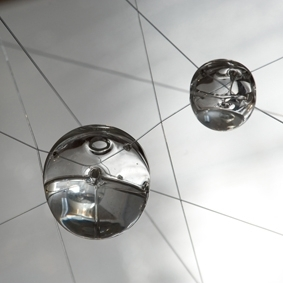 Emma Lashmar, 100/1 (detail), 2010. Glass and thread. Installation view, MARS Gallery, Melbourne.  image