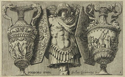 A cuirass between pairs of shields and vases image
